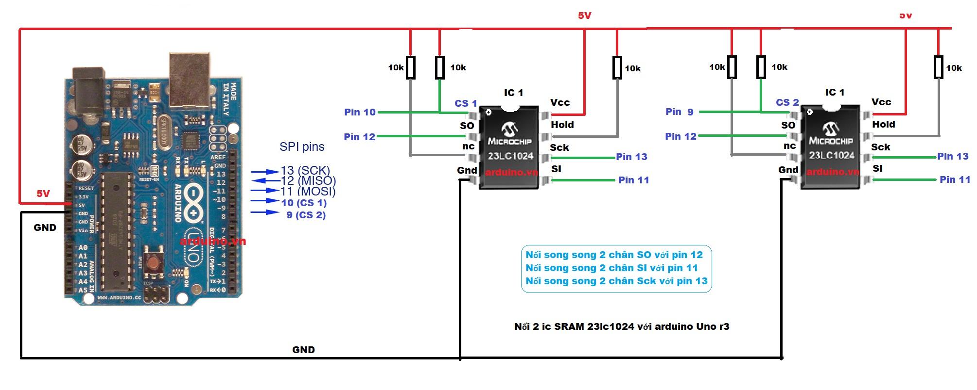 N ng kbyte sram ngoài cho arduino với ic lc